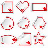 Set of stickers with hearts, for Valentine's day