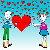 Valentine's Day cartoon card with kids holding a big heart