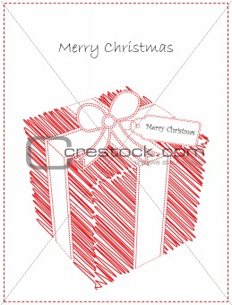 Christmas Card with Cute Doodled Gift