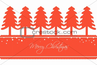 Christmas Card with a Row of Trees