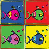 Pop Art Illustration of Fish
