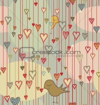 Valentine Background with Birds