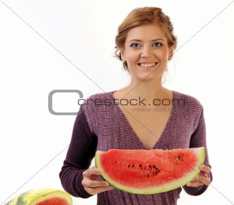 Young pretty woman with slice of watermelon