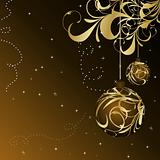 Christmas floral card with gold ball