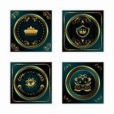 set blue dark gold-framed labels