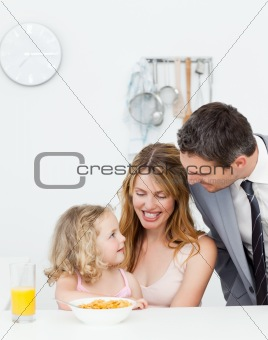 Family having breakfast together