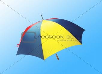 bright umbrella over blue background