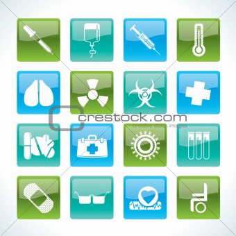 collection of medical themed icons and warning-signs