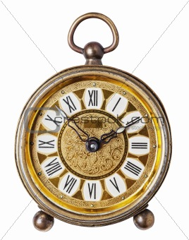 Antique clock isolated.