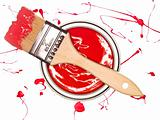 Red Paintcan and brush
