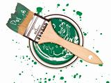 Green Paint can with brush