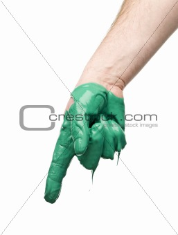 Green painted hand
