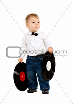 The little boy with phonograph records on white