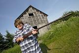 Woman with huge rifle