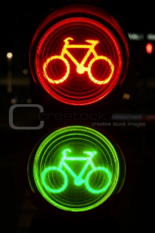 Green and red traffic light for bicyclists