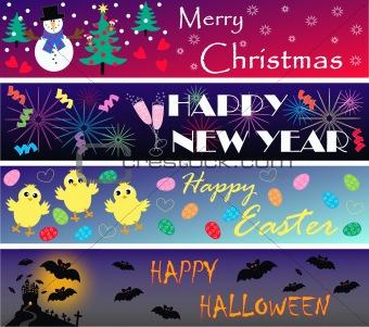 four seasonal banners