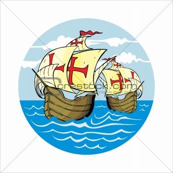 Caravels at Sea