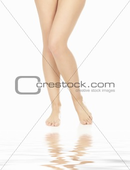 Long legs of pretty caucasian woman