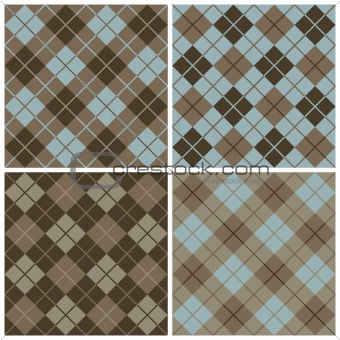 Argyle-Plaid Patterns in Blue and Brown