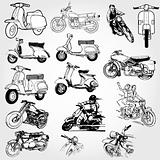 motorcycle set - vector