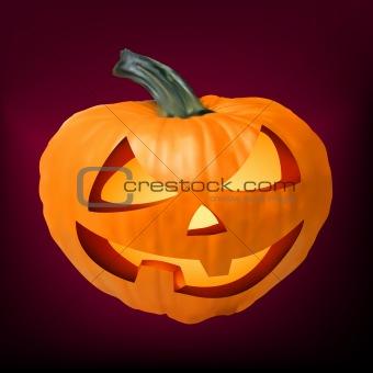 a ceramic halloween jack o lantern pumpkin. EPS 8