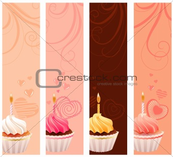 Banners with sweet small cakes