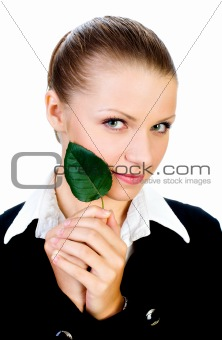 beautiful girl with a small, green leaf. isolated