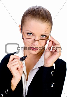 beatiful businesswomen with glasses isolated