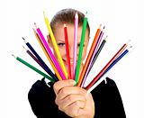 businesswomen with colorful pencil.  isolated