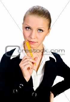 Portrait of the beatiful businesswomen.  isolated