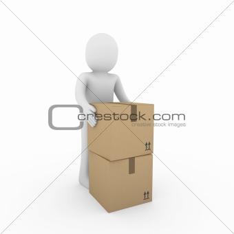3d human carton shipping