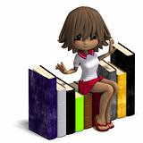 cute little cartoon school girl with many books