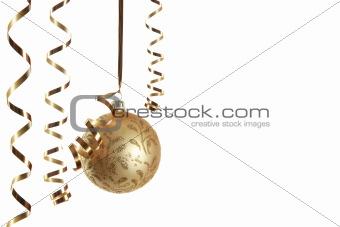 Christmas balls hanging with ribbons