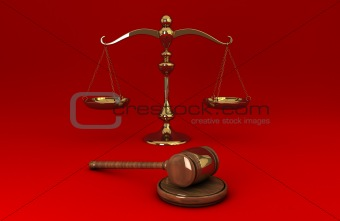 Golden scale and gavel on red solid background