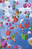 Lots of colorful gift boxes flying in the air