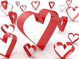 Abstract heart symbols randomly spread around