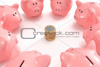 Group of piggy banks looking at a pile of coins