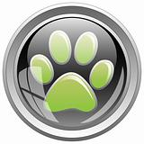 Animal footprint icon on black button