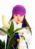 Young beauty girl with lily. isolated