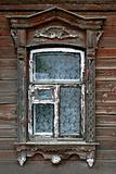 window of very old wooden house