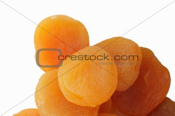 Group of dried apricot on white backgroud