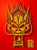 Chinese Dragon Calligraphy Gold on Red Background
