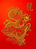 Chinese Dragon Paper Cutting Gold on Red Background