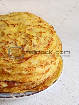 a large stack of delicious pancakes, home
