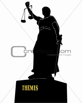 Black silhouette of a statue of a Themis