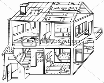 Kitchen  Bath Design Center on Image Description  Dwelling House   Black And White Cartoon
