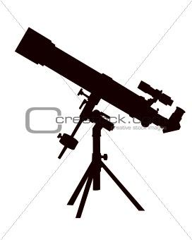 Black silhouette of a telescope