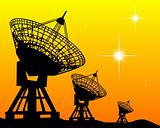 Black silhouettes of radars