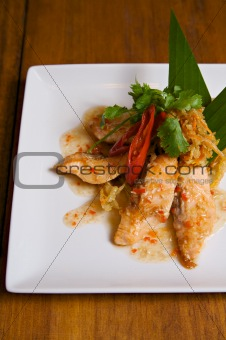 grilled salmon with chilli sauce