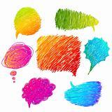 colorful hand drawn speech bubbles